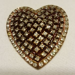 Gold-Tone and Red Enamel Crystal Heart Brooch